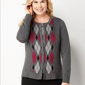CJ BANKS Argyle Gray Button Front Cardigan Sweater